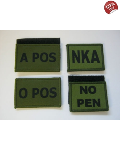 Hook and loop blood Group Patch in Green