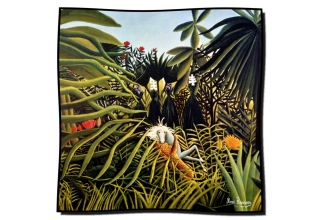 Silk scarf: Henri Rousseau, Jaguar and a Horse