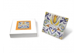 Tile with a Dutch motif - Heart of Tulip, 13x13