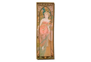 Silk long scarf: Alphonse Mucha, The Morning