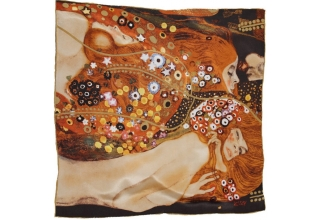 Silk cloth square: Gustav Klimt Water serpents