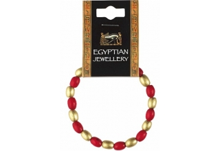 Egyptian Red & Gold Bead Bracelet