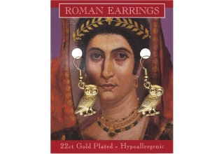 Roman Owl Earrings - Gold Plated