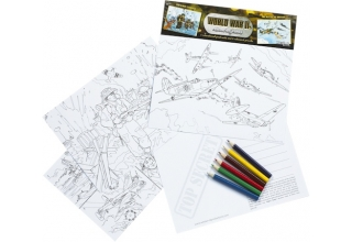 World War II Educational Colouring Postcards