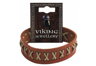 Viking Stitched Leather Stud Bracelet Clear