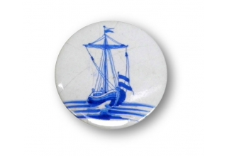 Pocket makeup mirror Dutch Historic Tile with a Sailing Ship