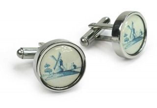 Cufflinks, Dutch Historic Tile with a Windmill