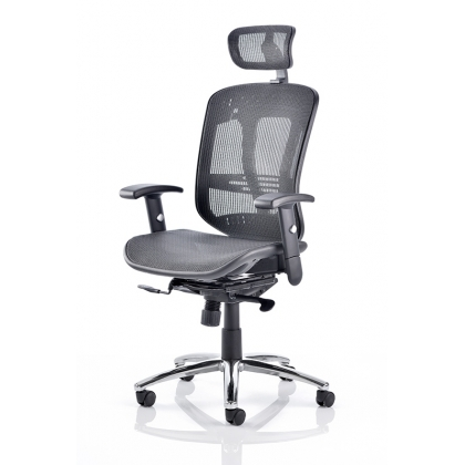 Mesh high back office chair with adjustable headrest