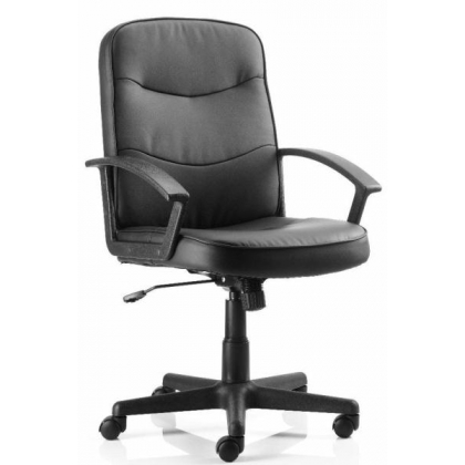Classic black leather medium back managers office chair