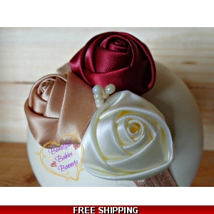 Rose Headband in Deep Red age 2-4 yrs