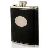 54 x 7oz Leather Hip Flasks - Black - ..