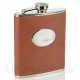 PU Leather 7oz Flask Tan with oval..