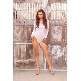 White opaque long sleeved bodysuit ted..