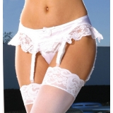 Suspender belt red, black or white-sat..