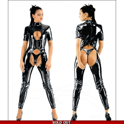 Black Crotchless Wet Look Catsuit 9064