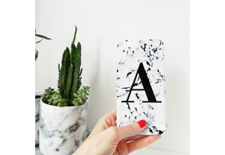 Marbled single letter personalised phone case