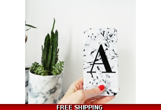 Marbled single letter personalised phone case style 03