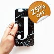 Black Marble single initial phone case style 2