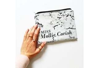 Marbled personalised mini clutch bag style 01