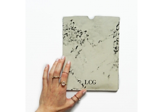 Monogram Marble print leather iPad sleeve