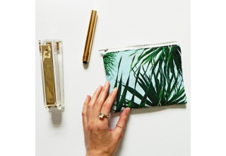 Tropical palm leaf print mini pouch bag