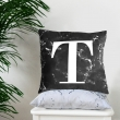 Black marble alphabet cushion cover