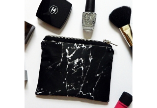 Black marble mini pouch bag
