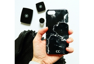 Black and white cracked marble monogram case