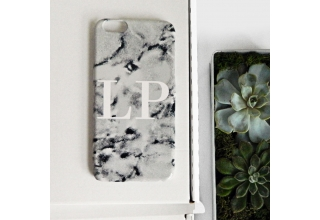 Marble phone case with white monogramming