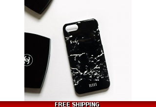 Black Marble monogram phone case - small initials