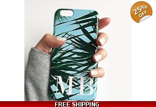 Kuta palm leaf print monogram phone case - large white initials