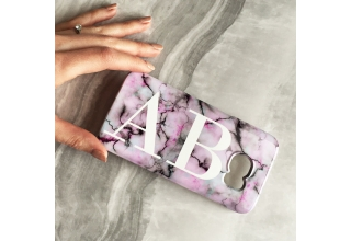 Pastel marble monogram phone case
