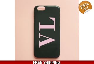 Khaki green & baby pink monogram phone case - Large initials
