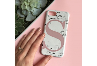 Marbled single letter personalised phone case - Dusty Pink