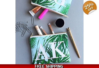 Kuta palm leaf print monogram mini make-up bag