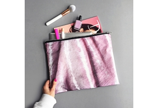 Pink crushed velvet print large zipper pouch