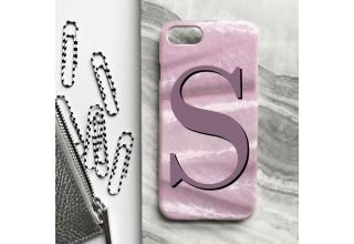 Blush pink crushed velvet alphabet phone case