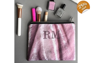 Blush pink crushed velvet monogram portfolio clutch bag