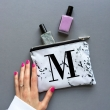 Marble alphabet mini make up zipper pouch