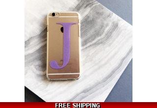 Clear and purple alphabet phone case
