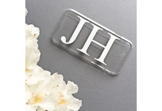 Clear and white monogram phone case with large initials