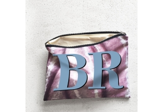 Pink crushed velvet print large zipper pouch with soft blue monogram