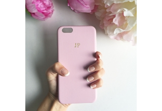 Soft pink PU leather embossed phone case