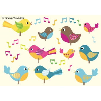Birds FabriStick® Repositionable, Removable Fabric Wall Stickers