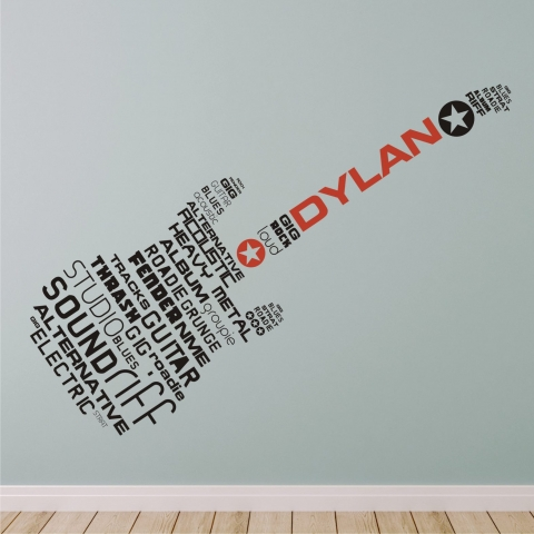 Perfect Word Stickers For Walls Uk Personalised Rock Alternative Guitar Word Wall  Sticker