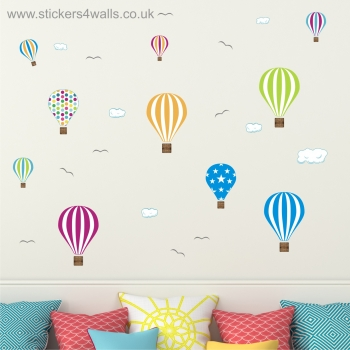 Hot Air Balloons Repositionable, Removable Fabric Wall Stickers