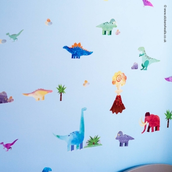 DINOSAUR & WOOLLY MAMMOTH WALL STICKERS: Reposit..