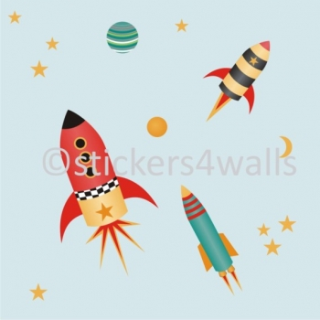 Space Rockets FabriStick® Repositionable, Removable Fabric Wall Stickers