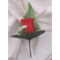 5 off FINE SILK RED ROSE BUTTONHO..