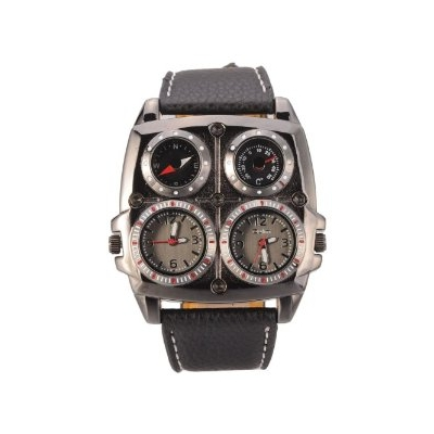 Bentleys Of Hook >> Oulm Men's Large Watch. Dual Time Zones, Compass, Thermometer - Big 5cm Multi-Function Dial ...